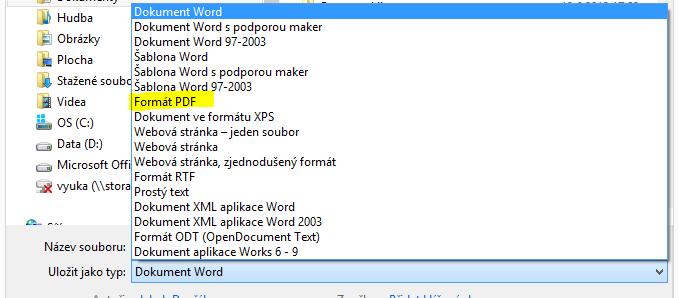 Speichern Sie die Arbeit in Microsoft Word als PDF.